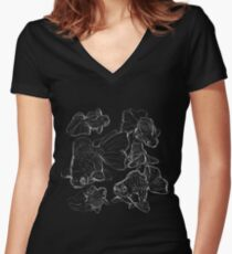 Sketchy Telescope Butterfly Goldfish Women's Fitted V-Neck T-Shirt