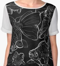 Sketchy Telescope Butterfly Goldfish Women's Chiffon Top