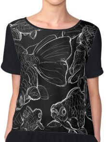 Sketchy Telescope Butterfly Goldfish Chiffon Top