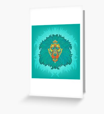 - Turquoise lion - Greeting Card