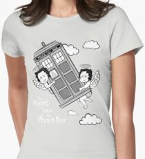 The Angels have the Phone Box - Version 3 BW (for dark tees) Womens Fitted T-Shirt