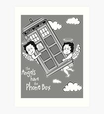 The Angels have the Phone Box - Version 3 BW (for dark tees) Art Print