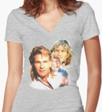Patrick Swayze Mural Women's Fitted V-Neck T-Shirt