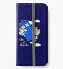 The Angels have the Phone Box - Version 4 (for dark tees / white outlines) iPhone Wallet/Case/Skin