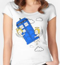 The Angels have the Phone Box - Version 4 (for dark tees / white outlines)  Women's Fitted Scoop T-Shirt