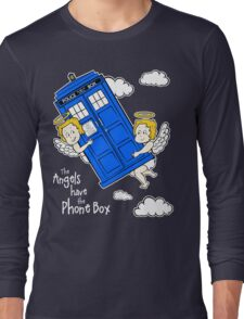 The Angels have the Phone Box - Version 4 (for dark tees / white outlines)  Long Sleeve T-Shirt