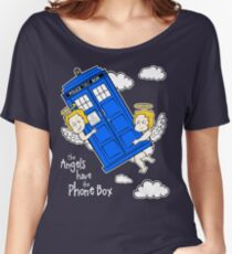 The Angels have the Phone Box - Version 4 (for dark tees / white outlines)  Women's Relaxed Fit T-Shirt