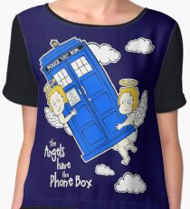 The Angels have the Phone Box - Version 4 (for dark tees / white outlines)  Chiffon Top