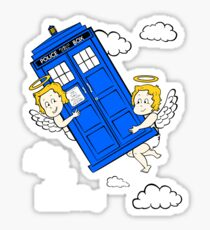 The Angels have the Phone Box - Version 4 (for dark tees / white outlines)  Sticker
