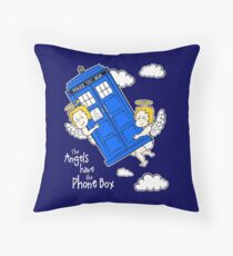 The Angels have the Phone Box - Version 4 (for dark tees / white outlines) Throw Pillow