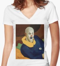 vintage famous art - John Everett Millais - George Luks A Clown Women's Fitted V-Neck T-Shirt