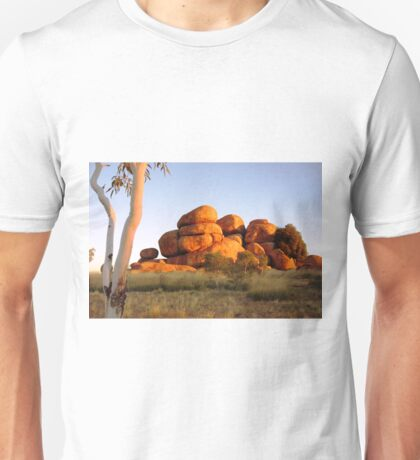 Sunset colours on the Devil's Marbles and ghost-gum T-Shirt