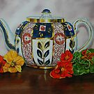 Old Teapot with Nasturtiums - oil painting by Avril Brand