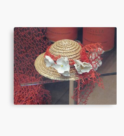 A decorative little straw hat Canvas Print