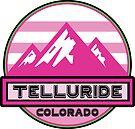 Skiing Telluride Colorado Snow Ski Mountains Pink by MyHandmadeSigns
