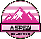Skiing Aspen Colorado Snow Ski Mountains Pink by MyHandmadeSigns