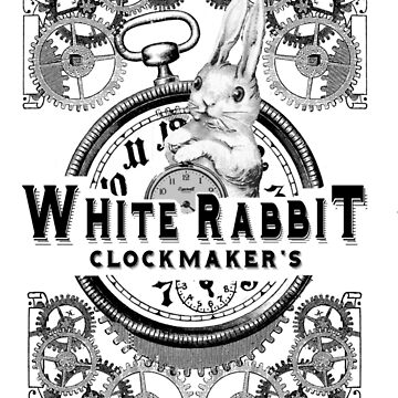 the white rabbit, Alice in Wonderland, clockmaker's, engraving, by KokoBlacsquare