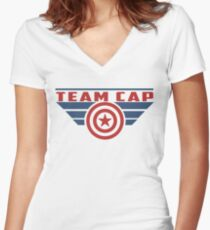 PLEASE SUPPORT TEAM CAP Women's Fitted V-Neck T-Shirt