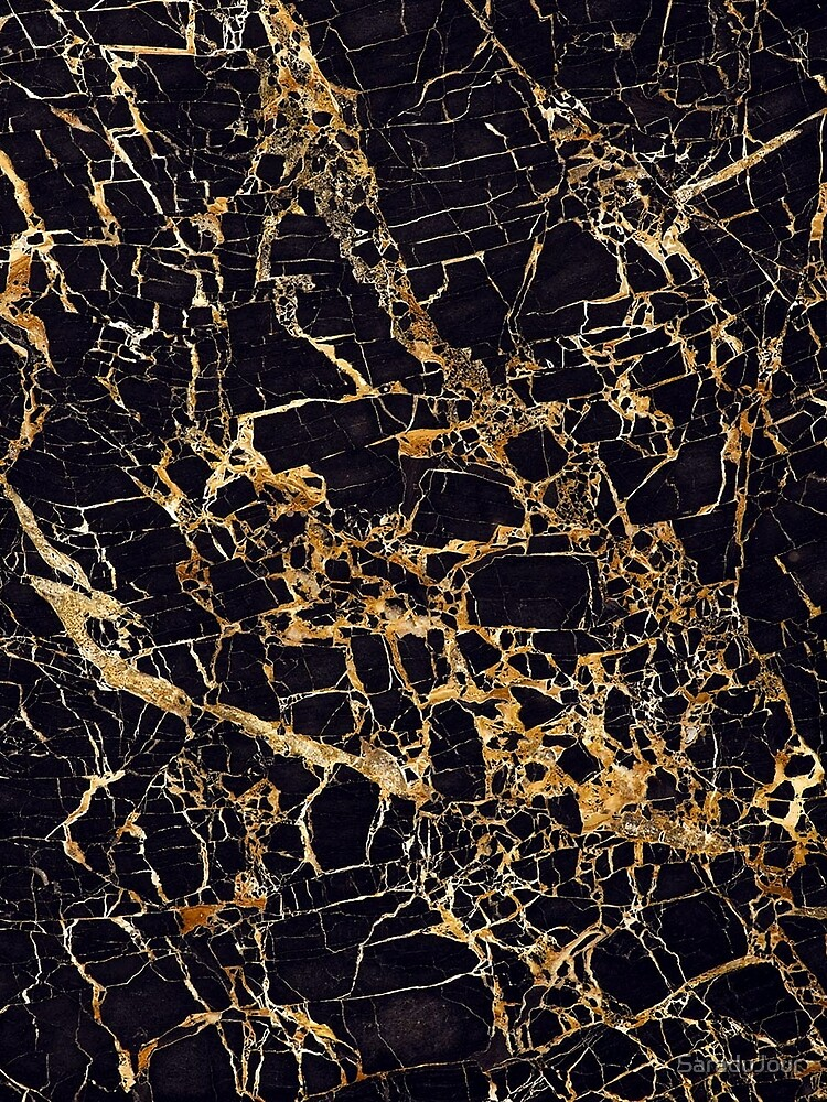 Black and Gold Marble - Gold Veined by SaraduJour