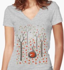 Sleeping Fox Women's Fitted V-Neck T-Shirt