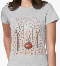 Sleeping Fox Womens Fitted T-Shirt