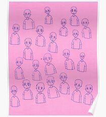 Unsettling Potato Men in Gel Pen Poster