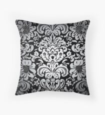 Floral Elegance - Silver/Black Fade Pattern 6 Throw Pillow