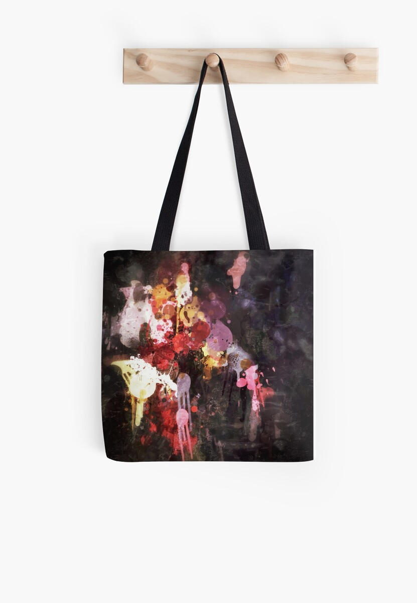 Allure Abstract Painting in Red, Purple, Gold and Black by JezebelDesigns