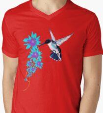 Humming Bird In Blue Mens V-Neck T-Shirt