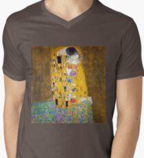 Gustav Klimt - Der Kuss T-Shirt mit V-Ausschnitt