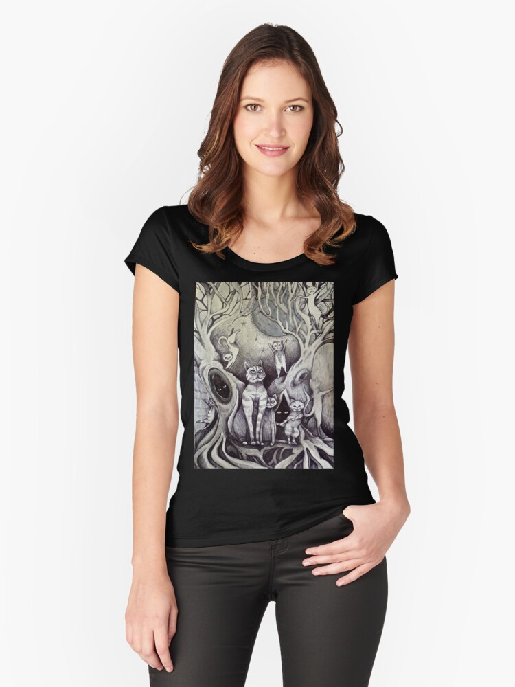 they danced under the light of the moon cat art Women's Fitted Scoop T-Shirt Front