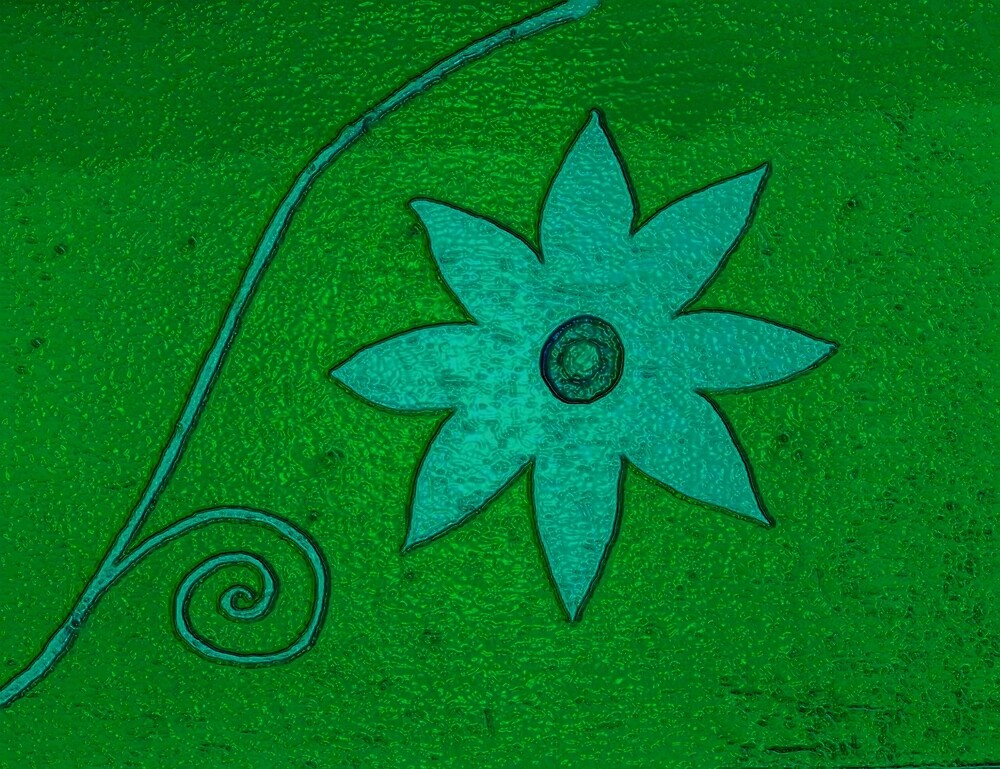 Turquoise Flower on green by donnagrayson