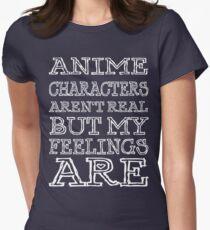 Camiseta entallada para mujer los personajes de anime no son reales, pero mis sentimientos son (letra blanca)