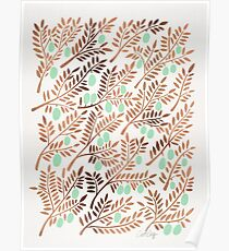 Olive Branches – Rose Gold & Mint Poster