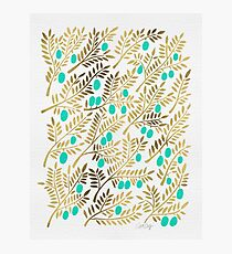 Gold & Turquoise Olive Branches Photographic Print
