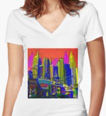 $IN CITY: ABSTRACT CITYSCAPE (UNO) Women's Fitted V-Neck T-Shirt