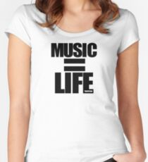 VURSAFIED - MUSIC = LIFE (BLACK) Women's Fitted Scoop T-Shirt