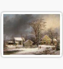 Vintage famous art - George Henry Durrie - Winter In The Country A Cold Morning Sticker