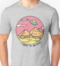 Pyramid X-filies Egyptian alien ufo desert sphynx 90s retro 80s print T-Shirt