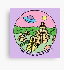 Mayan alien x-files scully mulder ufo pyramid egyptian pastel 90s tv Canvas Print