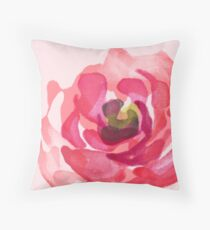 Watercolor Pink Peony Throw Pillow