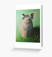 Pig in the grass Greeting Card