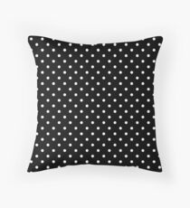 Small Polka Dots Pattern - Black and White Throw Pillow