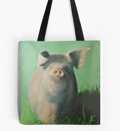 Pig in the grass Tote Bag