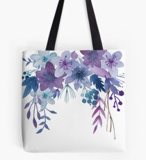 Blue Purple Flowers Tote Bag