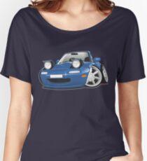 Mazda MX-5 Miata caricature blue Women's Relaxed Fit T-Shirt