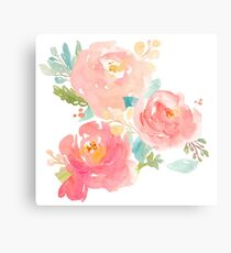Peonies Watercolor Bouquet Metal Print