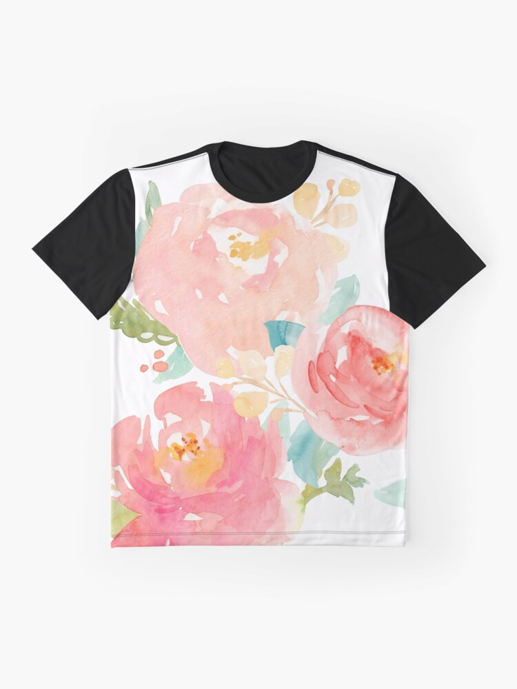 Alternate view of Peonies Watercolor Bouquet Graphic T-Shirt