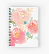Peonies Watercolor Bouquet Spiral Notebook