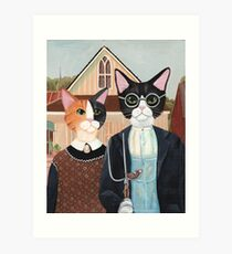 Ameowican Gothic Calico and Tuxedo Cat Art Print